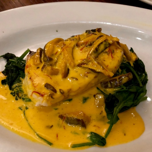 Halibut with saffron sauce over spinach ©blogginginitaly.com